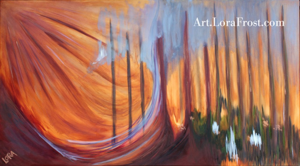 """Sunbeam Through Trees"" Commissioned Oil Painting, by Lora Frost - Prints Available"